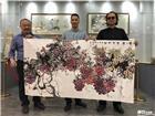 2018年5月4日著名画家张省教授与景泰蓝文化传媒两位领导留影